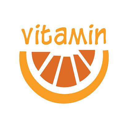 Orange fruit vitamin C design concept