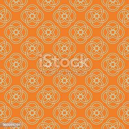 Orange Geometric Ornament Seamless Pattern Stock Vector Art & More Images of Abstract 965059244