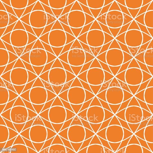 Orange Geometriska Prydnad Seamless Mönster-vektorgrafik och fler bilder på Abstrakt