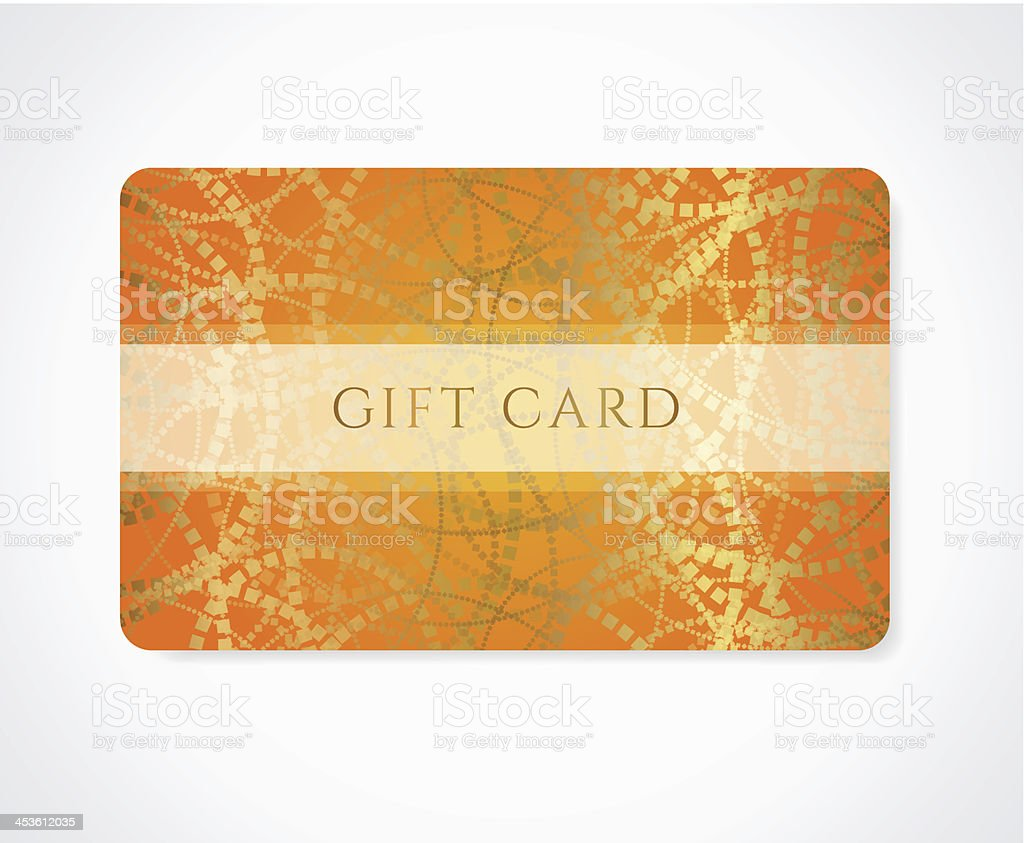 Orange Gift Discount Business Card Template With Abstract Golden ...