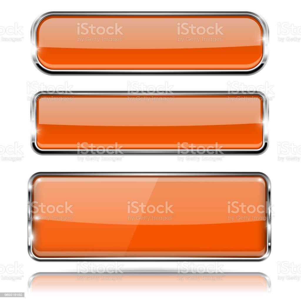 Ilustración de Vidrio Naranja Botones 3d Con Marco De Cromo Iconos ...