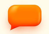 Orange glossy speech bubble illustration. Social network communication concept. Vector illustration