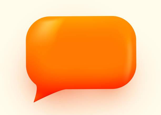 ilustraciones, imágenes clip art, dibujos animados e iconos de stock de ilustración de burbujas de voz brillante anaranjada. concepto de comunicación de redes sociales. - tridimensional