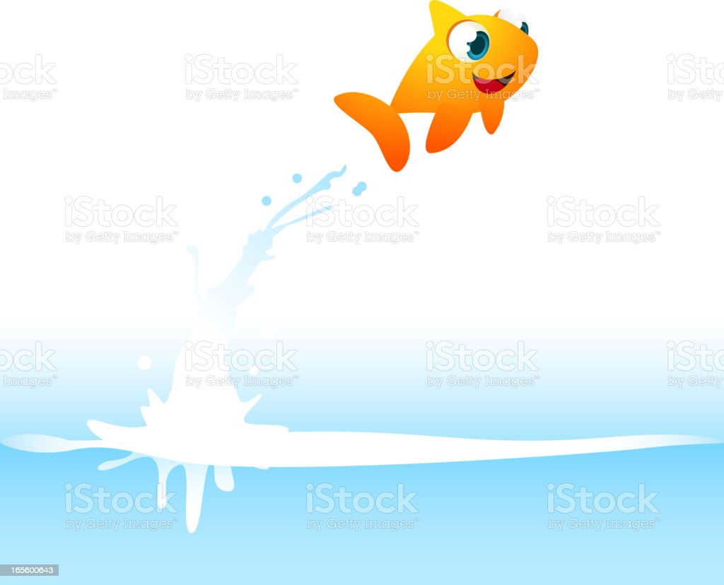 Orange Goldfish Fish Jumping Out of the Water vector art illustration