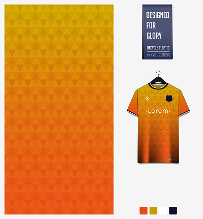 Orange gradient geometry shape abstract background. Fabric textile pattern design for soccer jersey, football kit, sport uniform. T-shirt mockup template design. Vector