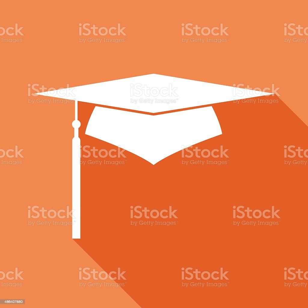 Orange Graduation Cap Icon vector art illustration