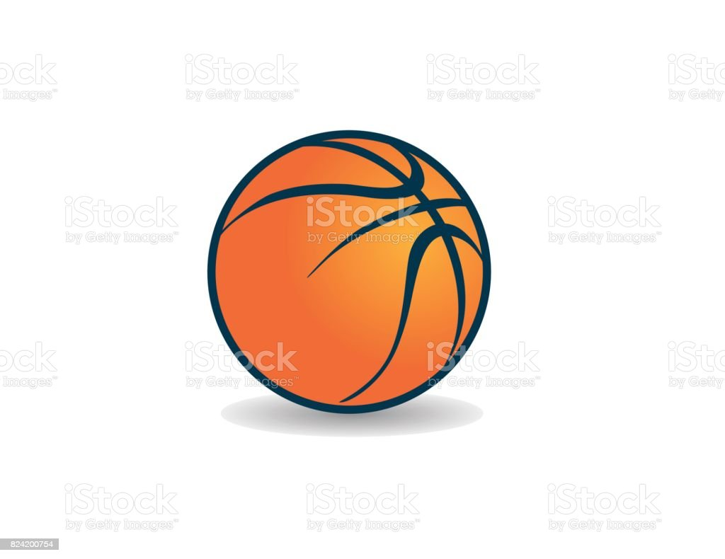 Orange graphic icon vector art basketball with shadow,  style векторная иллюстрация