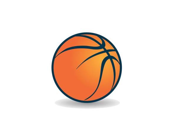 ilustraciones, imágenes clip art, dibujos animados e iconos de stock de icono gráfico naranja vector arte baloncesto con sombra, estilo - baloncesto