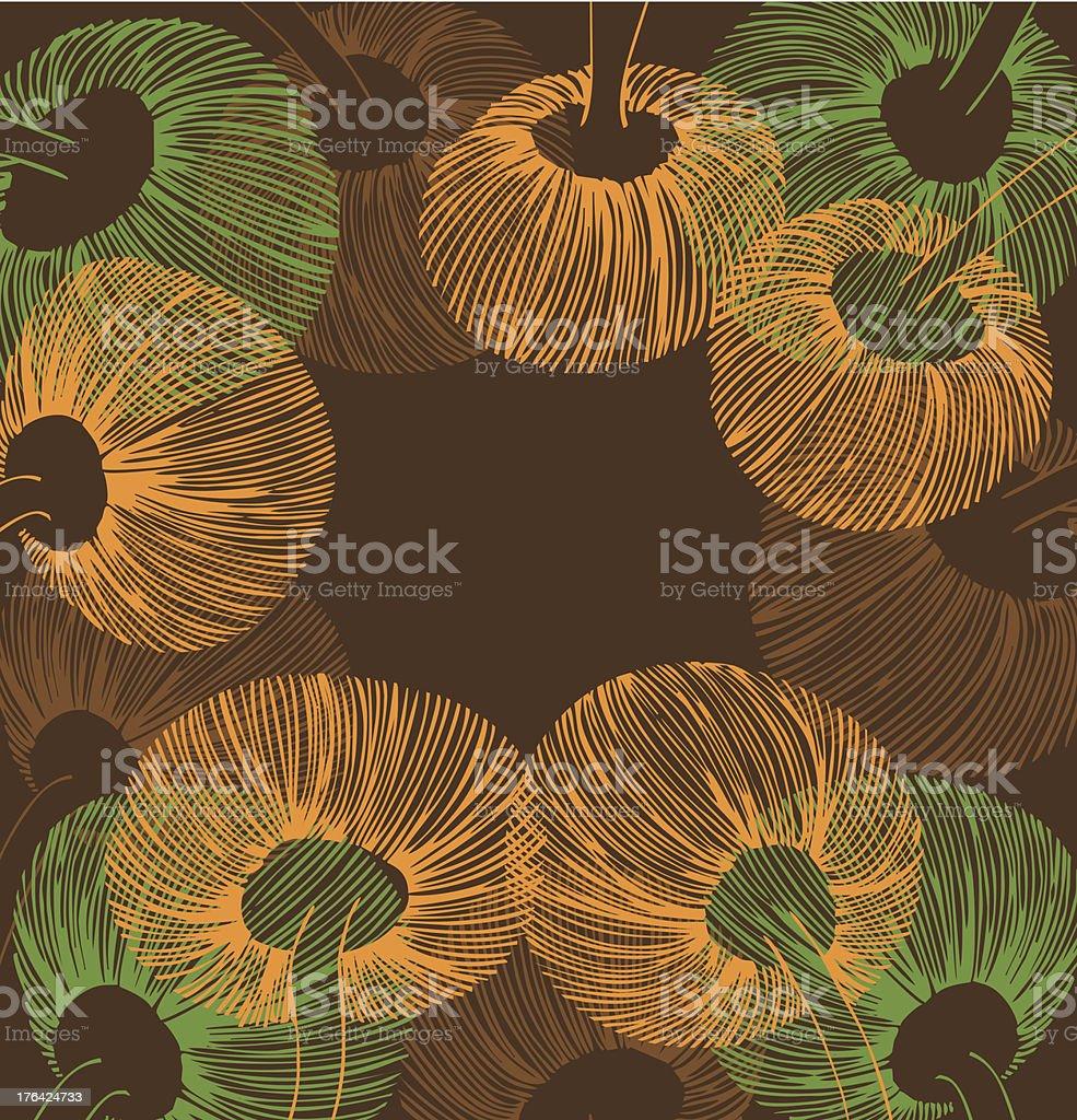 Orange, green and brown vintage flower element royalty-free stock vector art