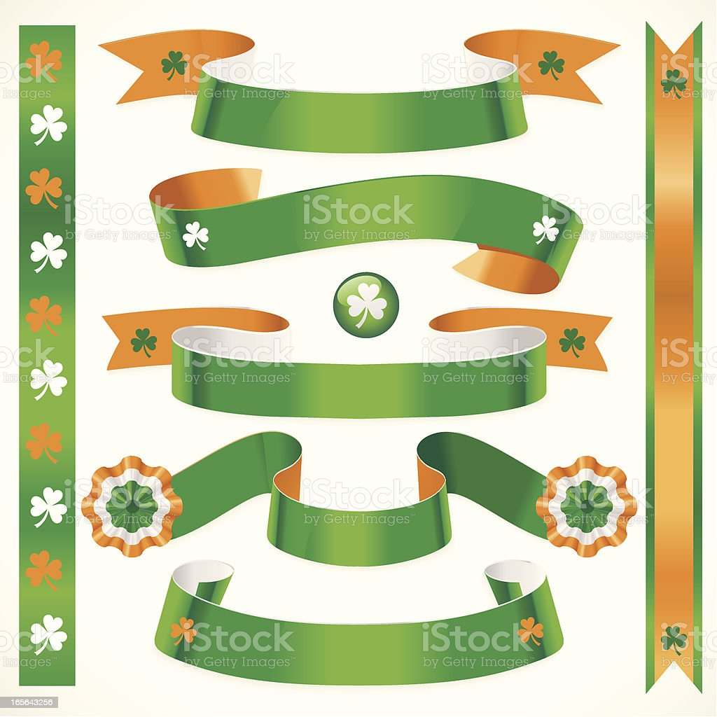 Orange Green and Clover Ribbons royalty-free stock vector art