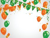 Orange green balloons, confetti concept design Independence Day greeting background. Celebration Vector illustration.