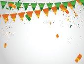 Orange green confetti concept, design Independence Day greeting background. Celebration Vector illustration.