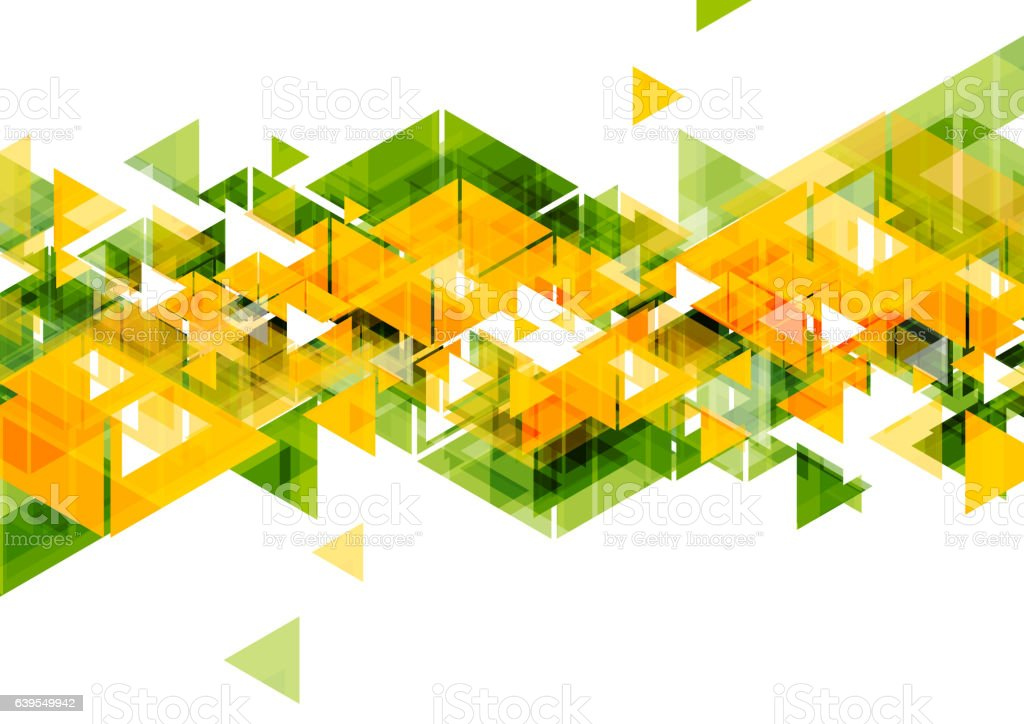 Orange green triangles abstract geometrical design vector art illustration