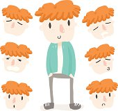 orange hair boy emotion