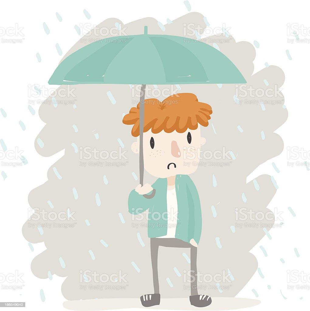 orange hair boy in rain royalty-free stock vector art