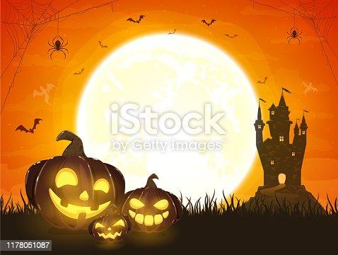istock Orange Halloween Background with Pumpkins and Castle 1178051087