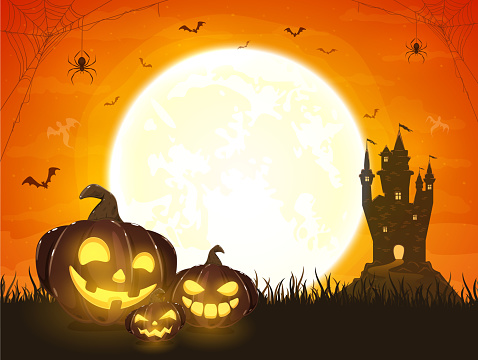 Orange Halloween Background with Pumpkins and Castle