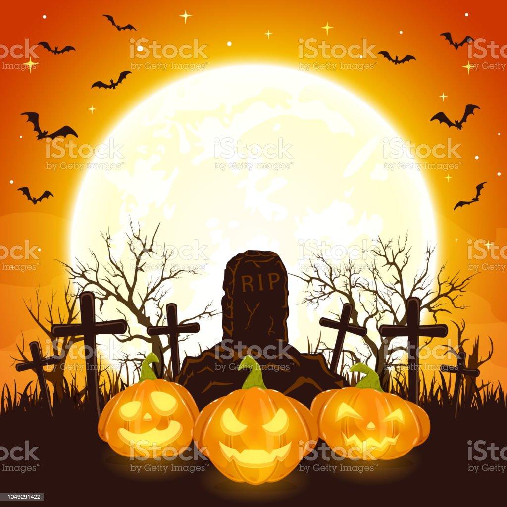 Halloween Kruis.Oranje Halloween Achtergrond Met Pompoenen En Kruis