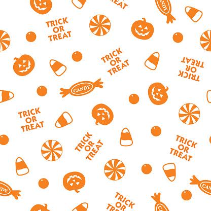 Orange Halloween Candy Seamless Pattern