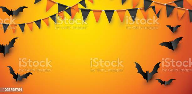 Orange halloween poster with bats and flags vector id1053798754?b=1&k=6&m=1053798754&s=612x612&h=s cu4fktk6aen8roybqrjigu8k99tdshvmo iauyh8y=