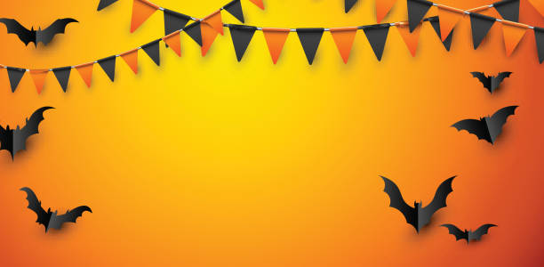 yarasalar ve bayrakları ile turuncu halloween poster. - halloween background stock illustrations