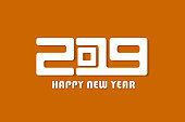Orange Happy New Year 2019 sign concept. Vector illustration