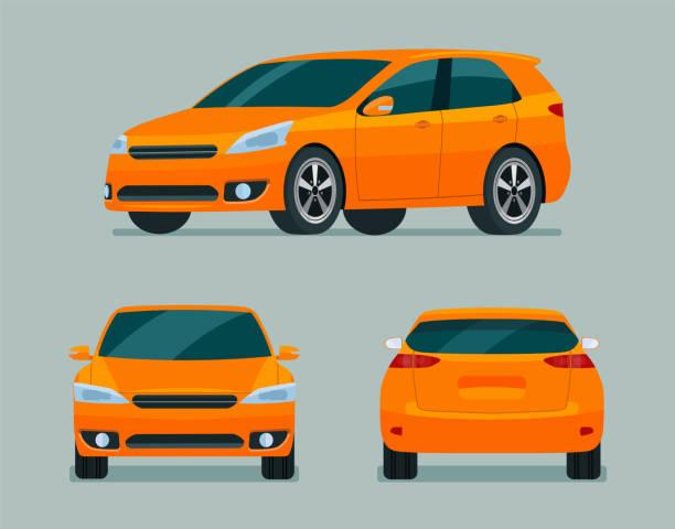 オレンジハッチバック車3アングルセット。側面、背面、フロントビューを備えた車。ベクトルフラットスタイルのイラストレーション。 - 車点のイラスト素材/クリップアート素材/マンガ素材/アイコン素材