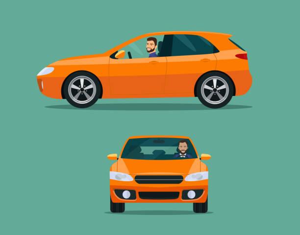 Orange hatchback car two angle set. Car with driver man side view Orange hatchback car two angle set. Car with driver man side view hatchback stock illustrations