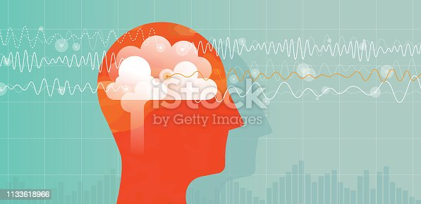 Vector illustration showing orange head with brain and charts of a different brain waves: Alpha, beta, theta and delta waves.
