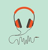Orange headphones. Vector illustration