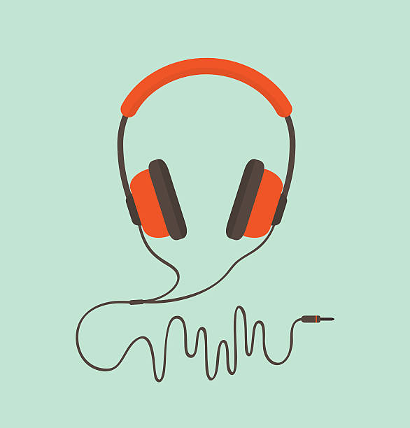 Orange headphones Orange headphones. Vector illustration headphones stock illustrations