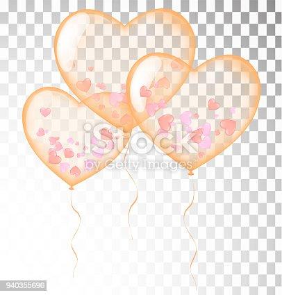 Orange Herz Luftballons Transparent Banner Vorlage Hintergrund ...