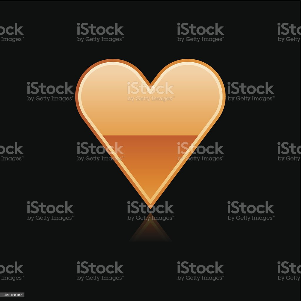 Orange heart sign metal icon chrome pictogram web internet button royalty-free stock vector art