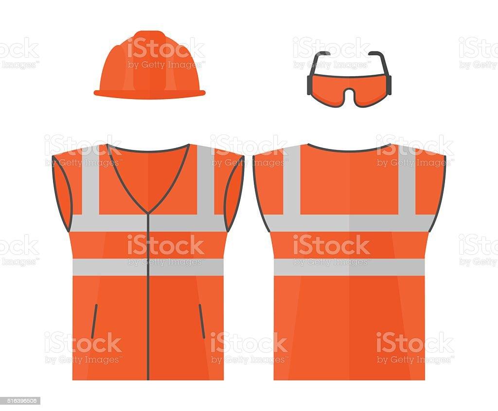 Orange high visibility vest vector art illustration