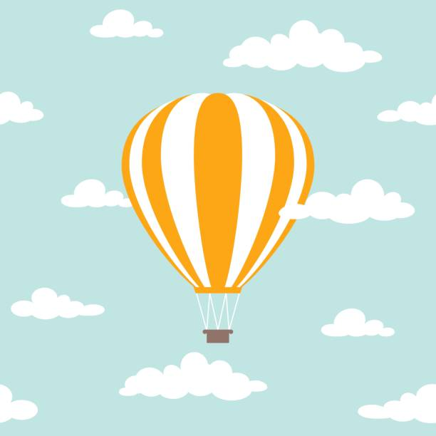 Orange hot air balloon flying in the powder blue sky with clouds. Orange hot air balloon flying in the powder blue sky with clouds. Flat cartoon design. Vector background. Fantasy and freedom symbol. hot air balloon stock illustrations