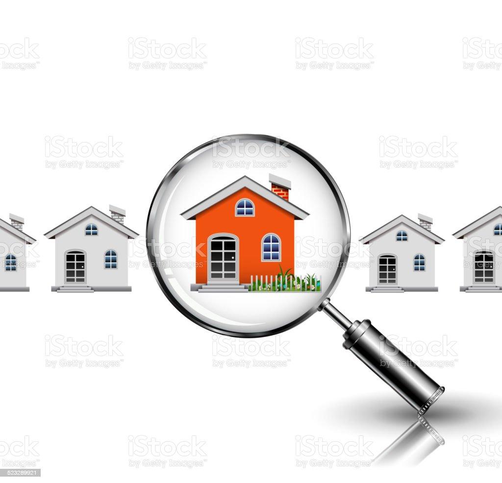 Orange House search vector art illustration