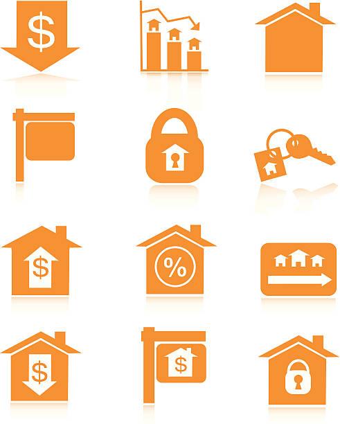 オレンジの住宅マーケットのアイコン ベクターアートイラスト