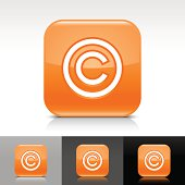 Orange icon copyright sign glossy rounded square web button