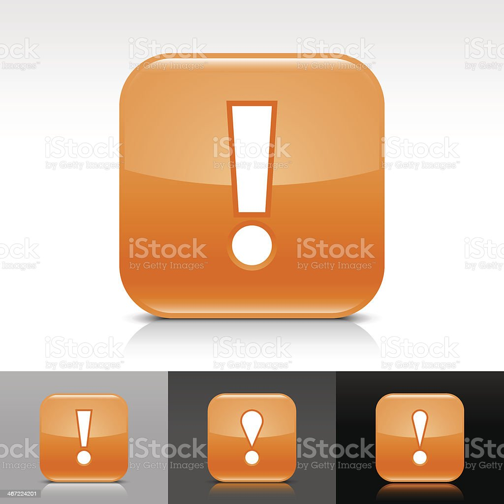 Orange icon exclamation point sign glossy rounded square internet button royalty-free orange icon exclamation point sign glossy rounded square internet button stock vector art & more images of alertness