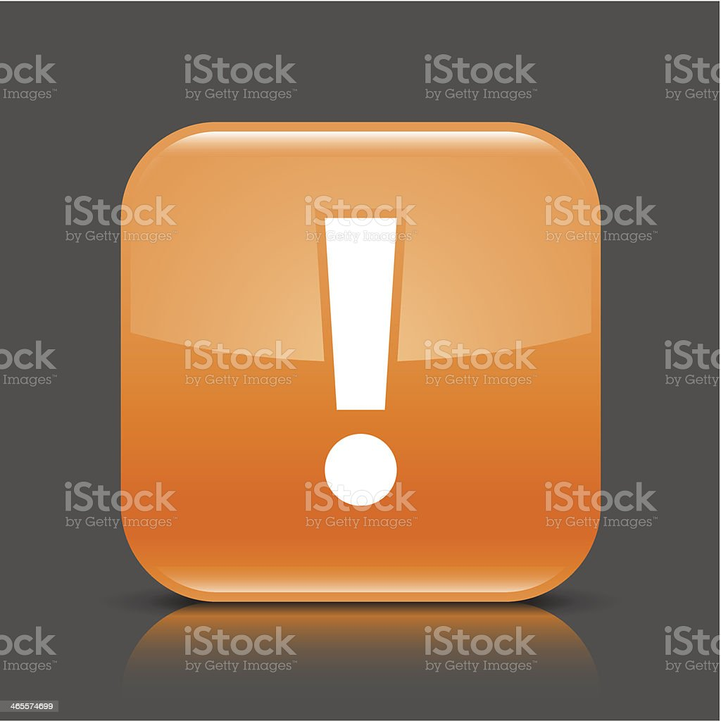 Orange icon exclamation point sign glossy square web button royalty-free stock vector art