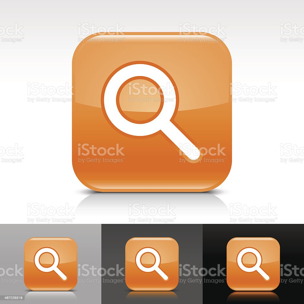 Orange icon magnifying glass sign glossy rounded square internet button royalty-free stock vector art