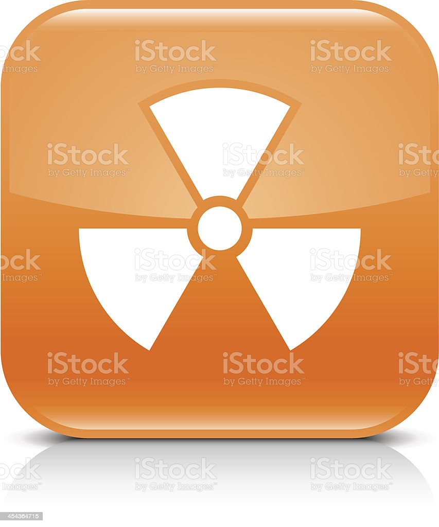 Orange icon radiation sign glossy rounded square web button royalty-free stock vector art