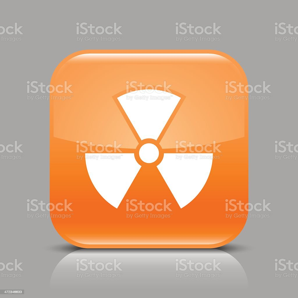 Orange icon radiation sign glossy square web internet button royalty-free stock vector art