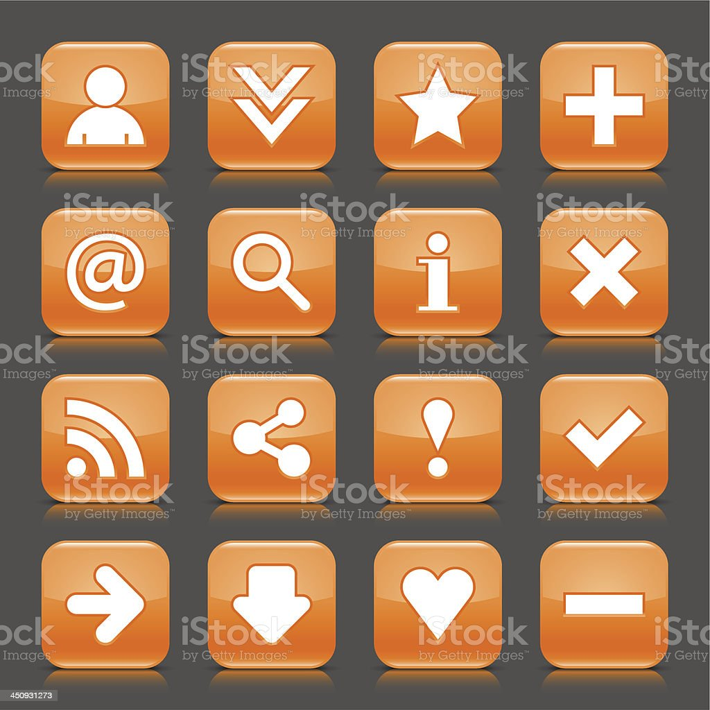 Orange icon with white basic sign glossy rounded square button royalty-free stock vector art