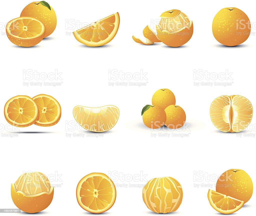 Orange Icons vector art illustration