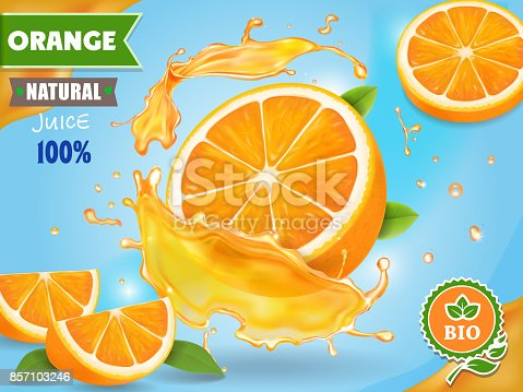 istock Orange juice ad. Realistic fruits in juicy splash package design 857103246