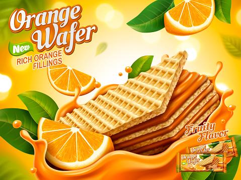 orange juice and tasty ice cream realistic design