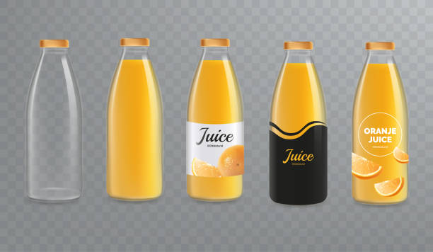 stockillustraties, clipart, cartoons en iconen met jus d'orange fles mockup. vector glazen fles mock up geïsoleerd op transparante achtergrond. ontwerp van labels voor sap. vector eps 10. - sapjes