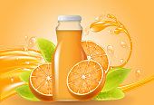 Orange juice bottled drink with fresh fruits and splashing liquid, Natural Product Concept, vector illustration