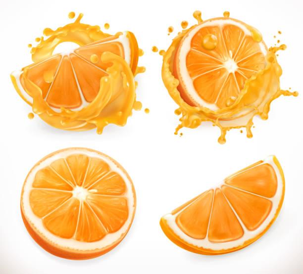 illustrations, cliparts, dessins animés et icônes de jus d'orange. fruits frais et des éclaboussures. réalisme 3d, vector icon set - orange